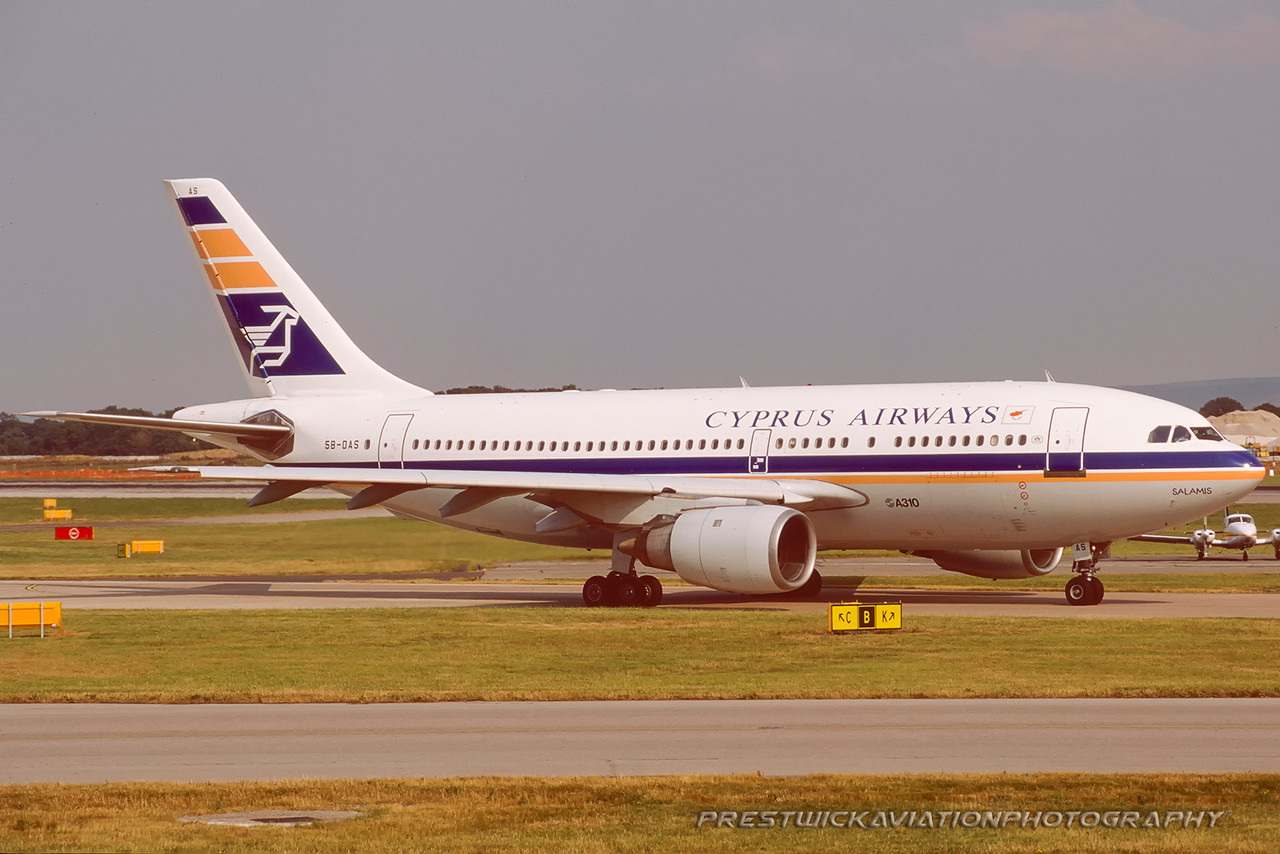 5B-DAS. Airbus A310-203. Cyprus Airways. Manchester. August. 1999.