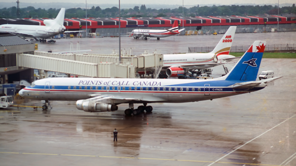 C-FNZE. Douglas DC-8-52. Points of Call Canada. Manchester. 1993.