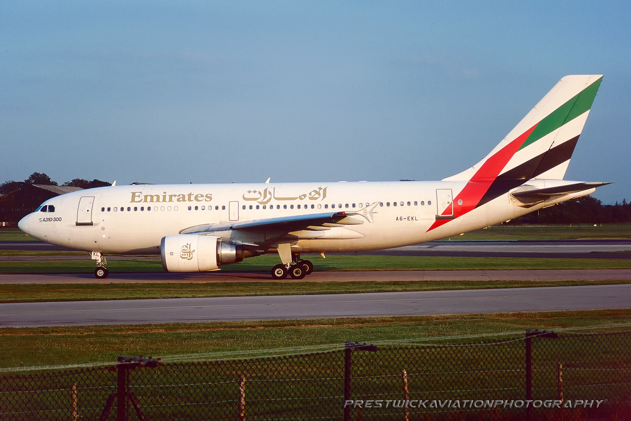 A6-EKL. Airbus A310-308. Emirates. Manchester. August. 1997.