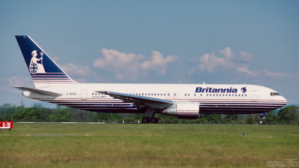 G-BOPB. Boeing 767-204/ER. Britannia Airways. Glasgow. June. 1994.