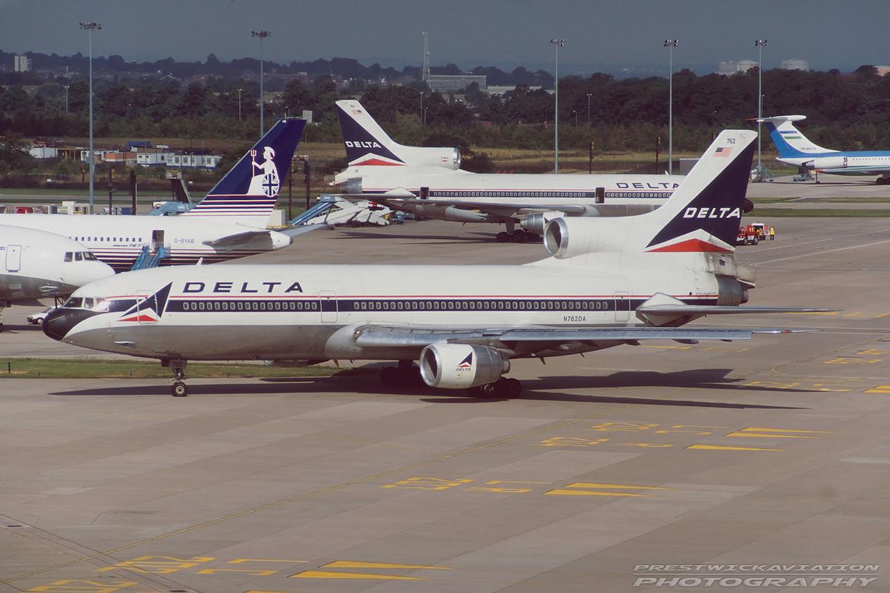 N762DA. Lockheed L-1011-385-3 TriStar 500. Delta. Manchester. August. 1997.