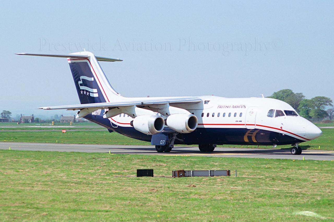 N407XV. British Aerospace BAe 146-200. British Airways. Glasgow. 1980`s.<br /> <br /> Leased from Presidential Airways.<br /> Negative scan.