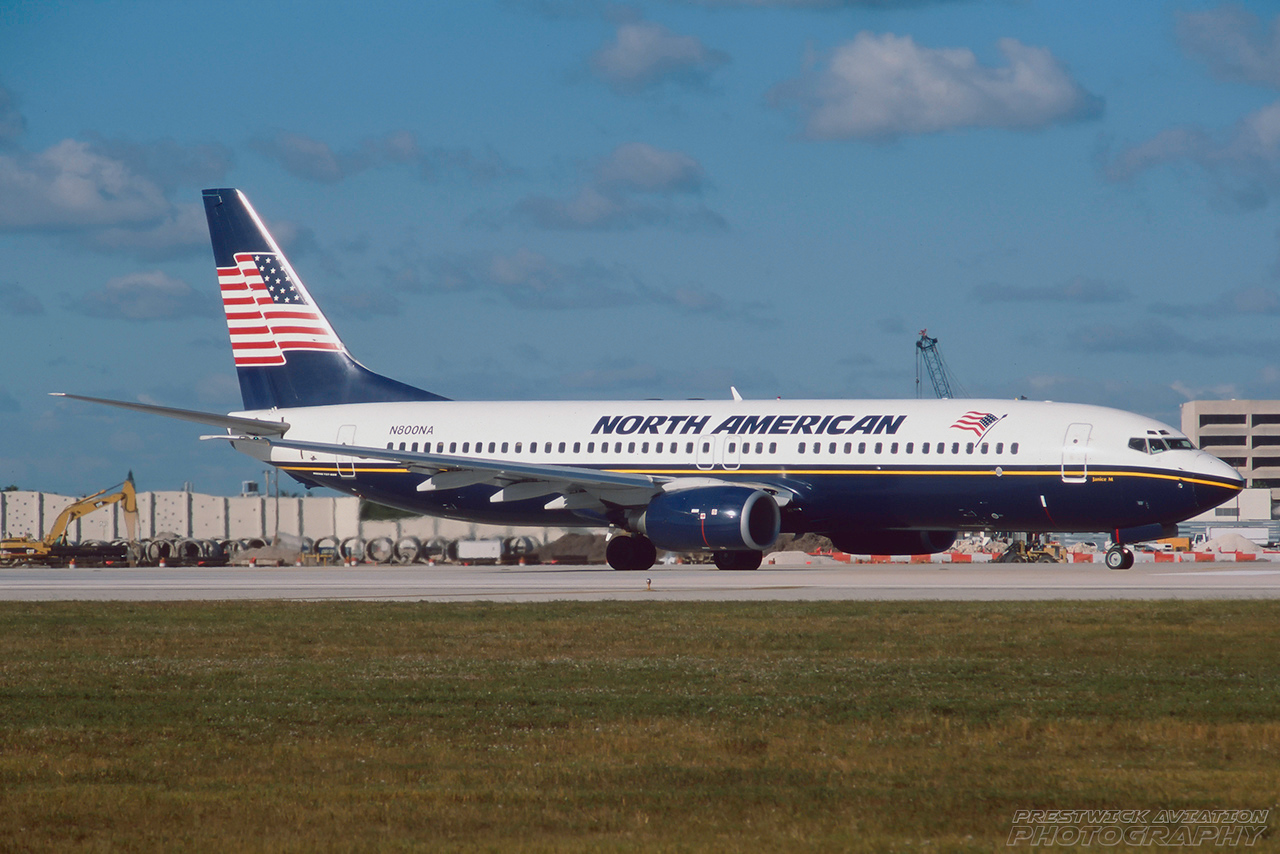 N800NA. Boeing 737-8Q8. North American Airlines. Miami. February. 2001.
