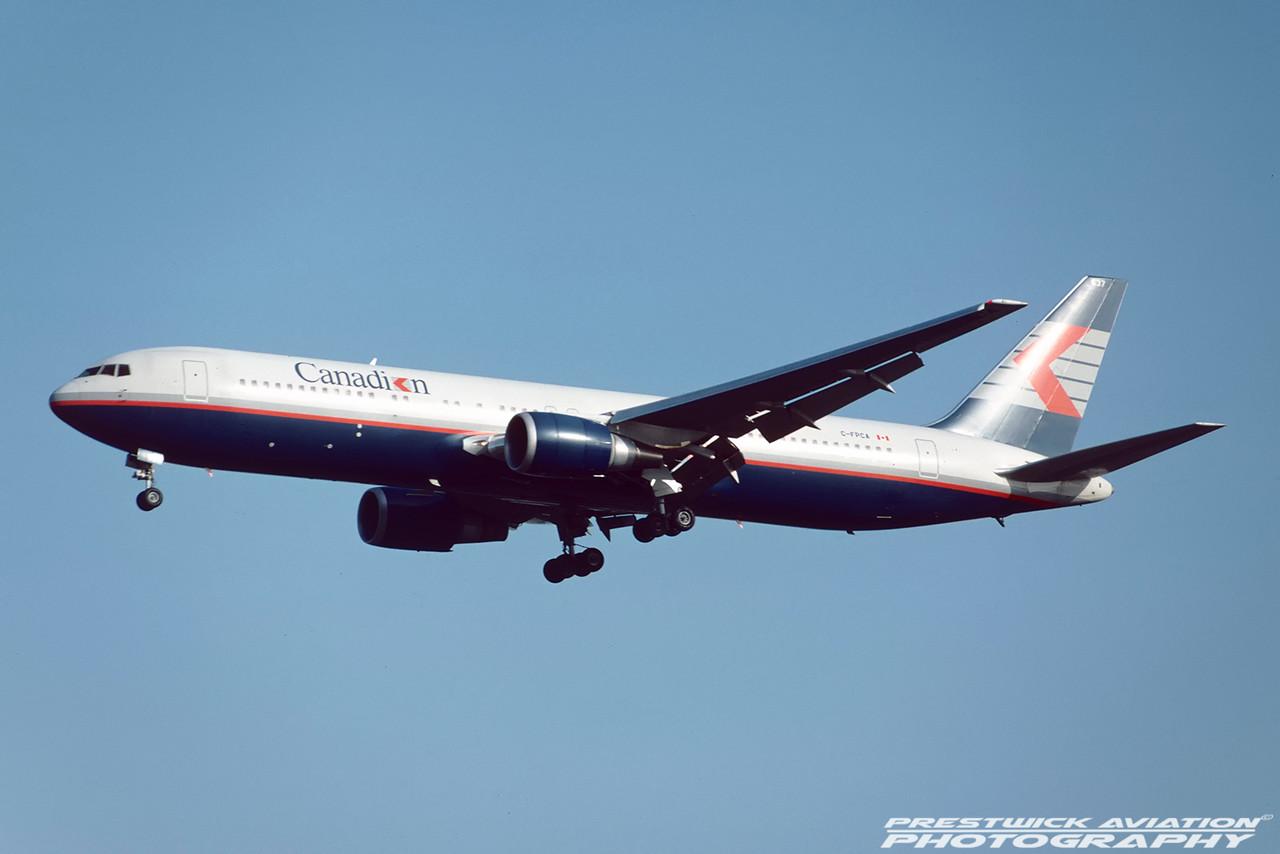 C-FCPA. Boeing 767-375/ER. Canadian. Gatwick. October. 1992.