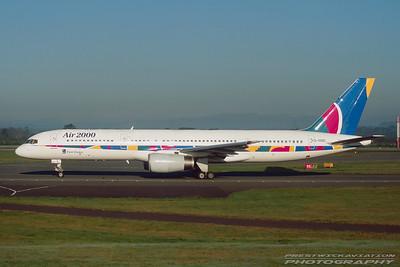 G-OOOS. Boeing 757-236. Air 2000. Glasgow. October. 1997.