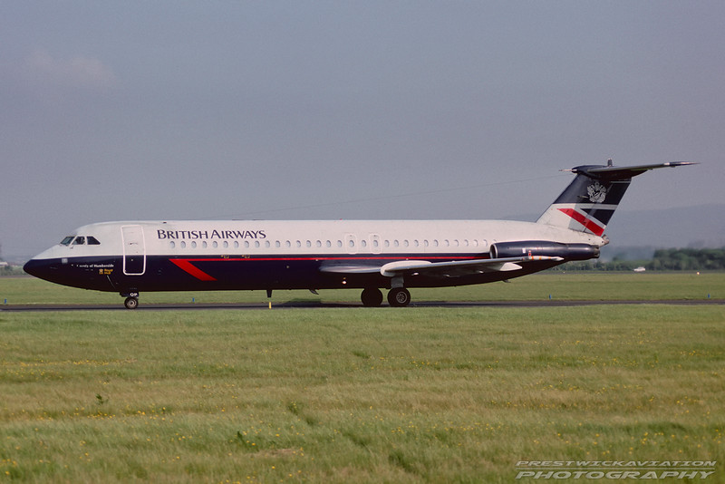 G-AYOP. BAC 111-530FX. British Airways. Glasgow. May 1992.