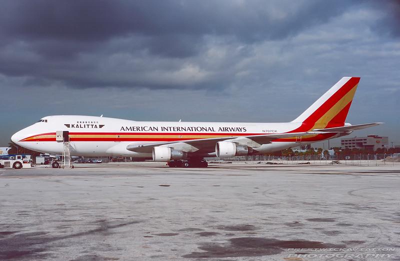 N707CK. Boeing 747-269B(SF). American International Airways - Kalitta. Miami. February. 1999.