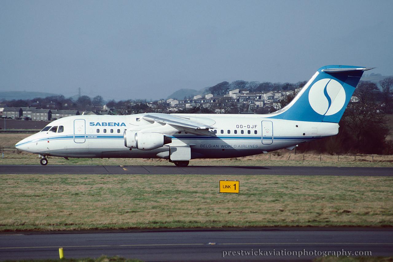 OO-DJF. British Aerospace BAe-146-200. Sabena. Glasgow. March 1992.