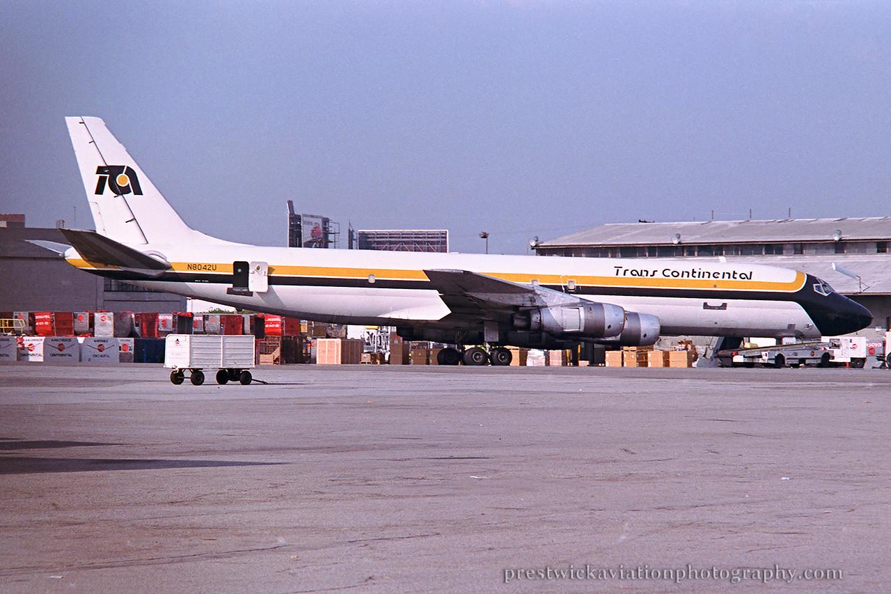 N8042U. Douglas DC-8-54AF Jet Trader. Trans Continental. Los Angeles. August 1990.