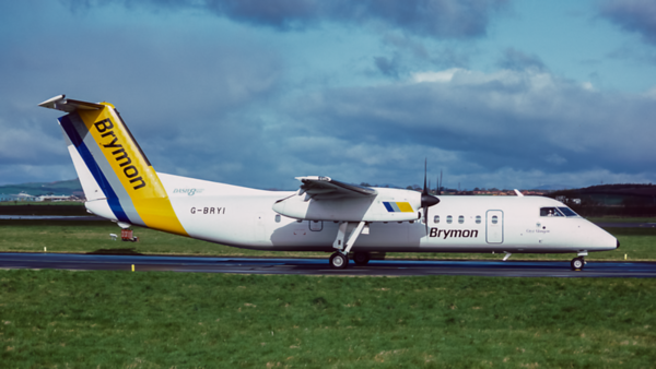G-BRYI. De Havilland Canada DHC-8-311 Dash 8. Brymon. Glasgow. May. 1992.