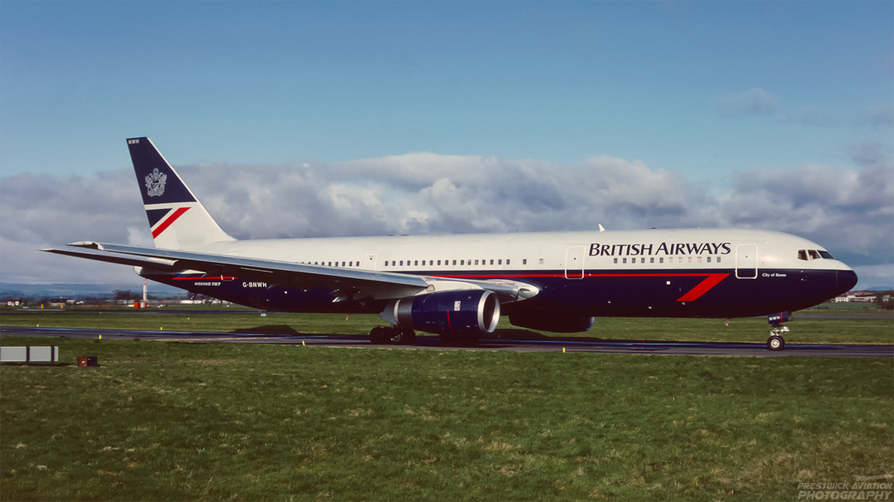 G-BNWH. Boeing 767-336/ER. British Airways. Glasgow. May. 1992.