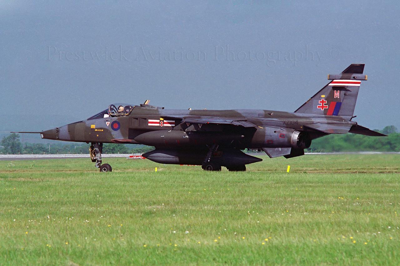 XZ104. Sepecat Jaguar GR1. RAF. Glasgow. 1990`s.<br /> <br /> Negative scan.