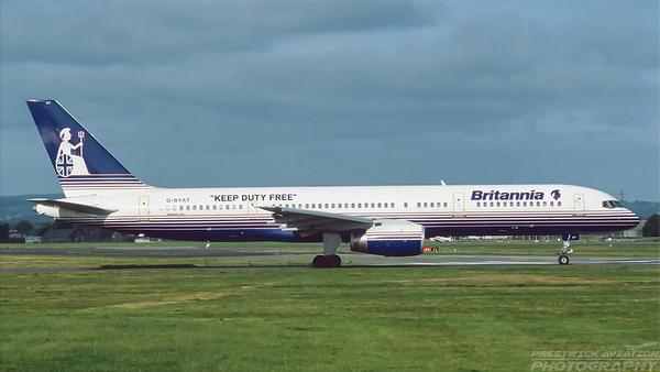 G-BYAT. Boeing 757-204. Britannia. Glasgow. August. 1997.