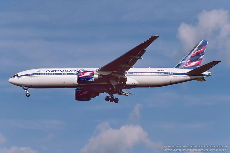 VP-BAU. Boeing 777-2Q8/ER. Aeroflot. Heathrow. July 1999.