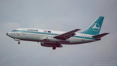 LX-LGI. Boeing 737-2C9. Luxair. Heathrow. October. 1992.
