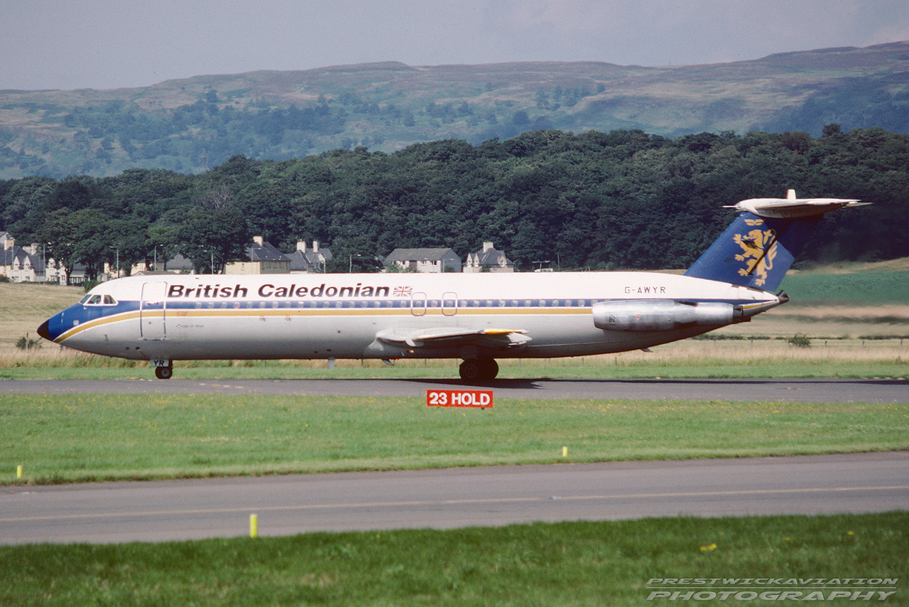 G-AWYR. BAC 111-501EX One-Eleven. British Caledonian. Glasgow.  August. 1988.