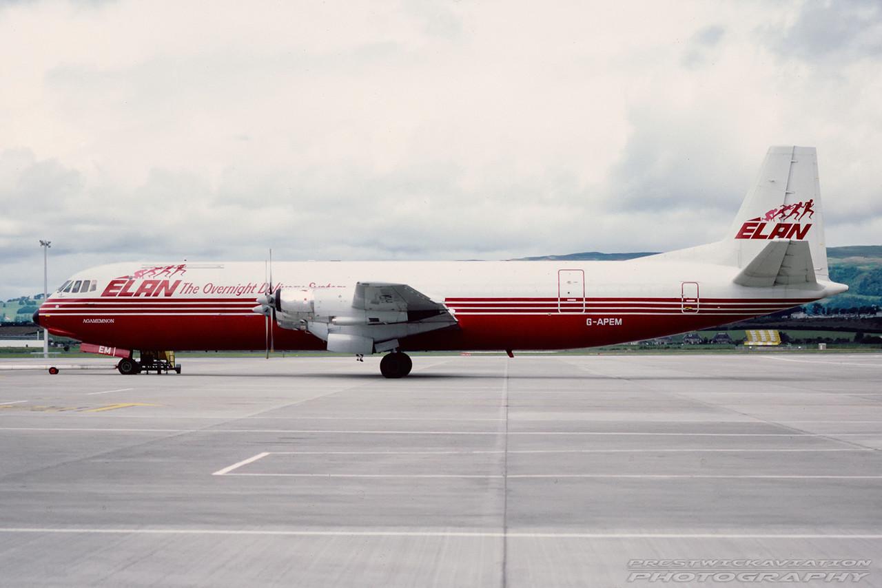 G-APEM. Vickers 953C Merchantman. Elan Air. Glasgow. July. 1988.