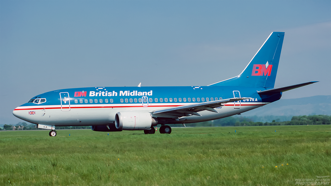 G-BVKA. Boeing 737-59D. British Midland. Glasgow. May. 1994.