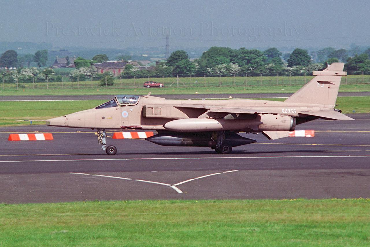 XZ355. Sepecat Jaguar GR1A. RAF. Glasgow. 1990`s.<br /> <br /> Negative scan.