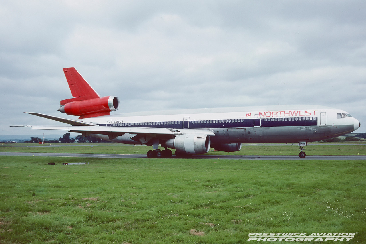 N155US. McDonnell Douglas DC-10-40. Northwest Airlines. Glasgow. August. 1991.