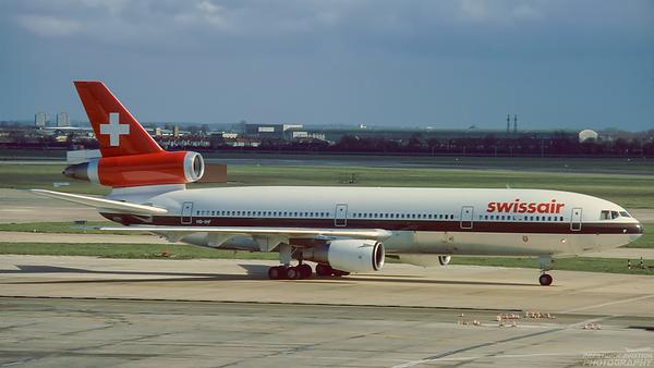 HB-IHF. McDonnell Douglas DC-10-30. Swissair. Heathrow. 1980`s.