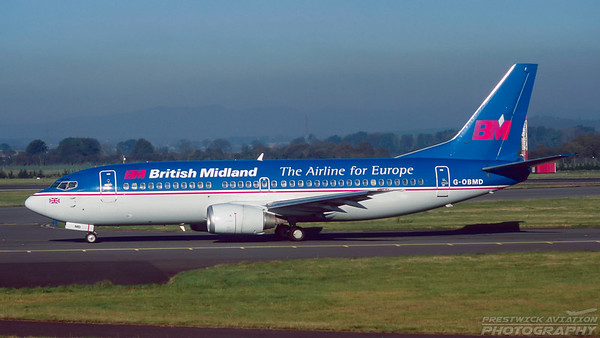 G-OBMD. Boeing 737-33A. British Midland. Glasgow. October. 1997.