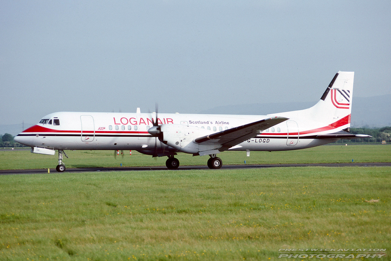 G-LOGD. British Aerospace ATP. Loganair. Glasgow. June. 1992.
