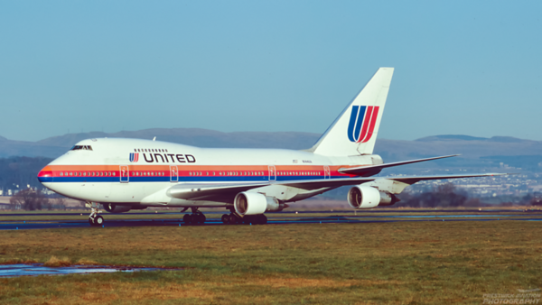 N144UA. Boeing 747SP. United. Glasgow. November. 1993.