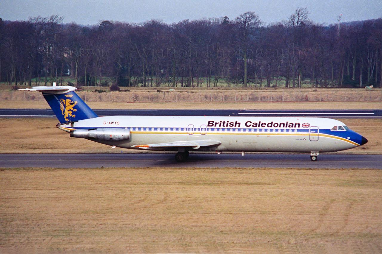 G-AWYS. BAC 111-501EX One-Eleven. British Caledonian. Edinburgh. 1980`s.<br /> <br /> Negative scan.