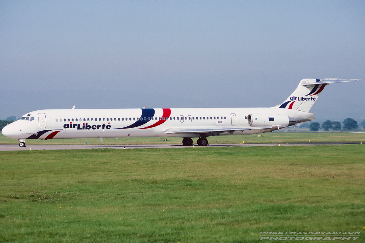 F-GHEI. McDonnell Douglas MD-83. Air Liberte. Glasgow. August. 1991.