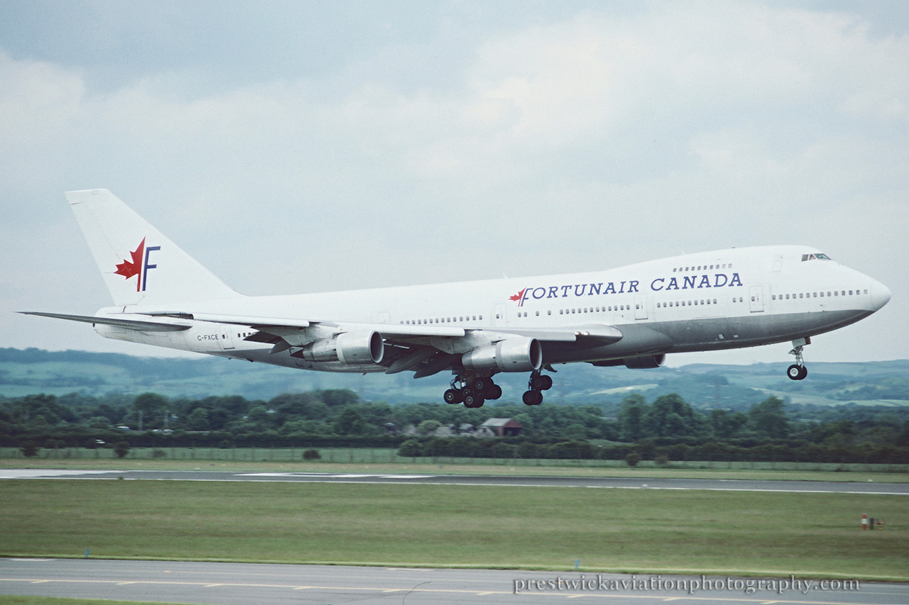 C-FXCE. Boeing 747-212B. Fortunair.Glasgow. July 1995.