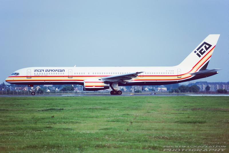 G-IEAB. Boeing 757-23A. Inter European. Glasgow. June. 1991.