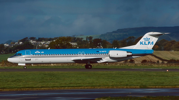 G-UKFO. Focker 100. KLM. Glasgow. October. 1998.