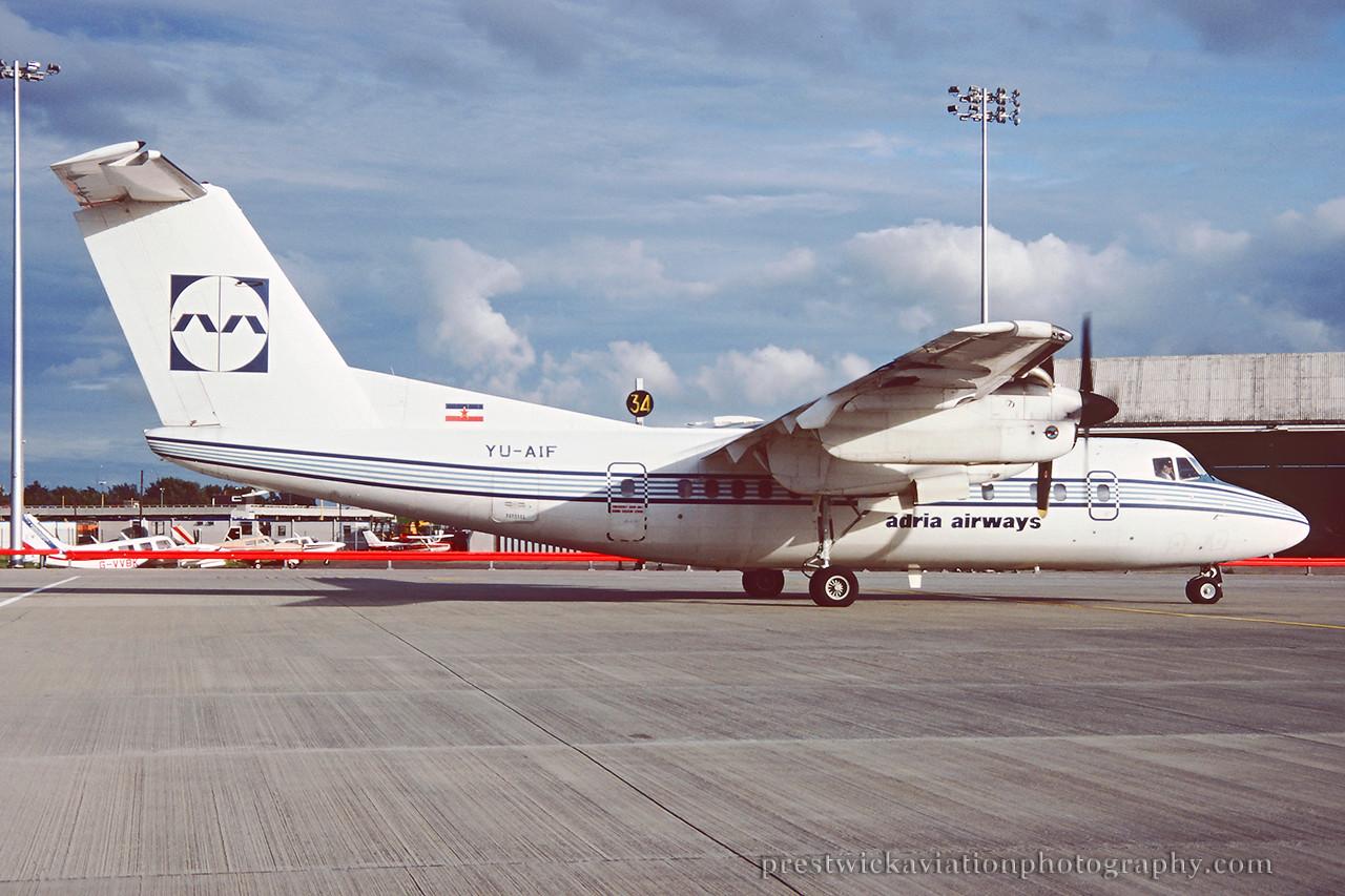YU-AIF. De Havilland Canada DHC-7-102 Dash 7. Adria Airways. Glasgow. August 1991.