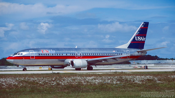N413US. Boeing 737-401. US Air. Fort Lauderdale. October. 1996.