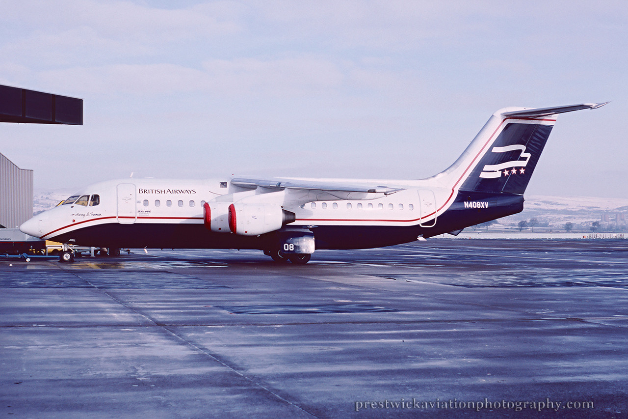 N408XV. British Aerospace BAe-146-200. British Airways. Glasgow. February 1989.