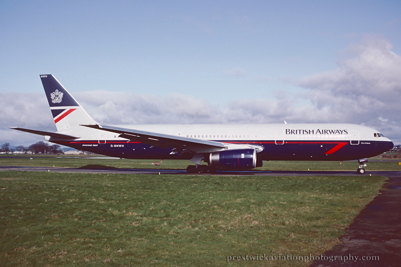 G-BNWH. Boeing 767-336/ER. British Airways. Glasgow. 1993.