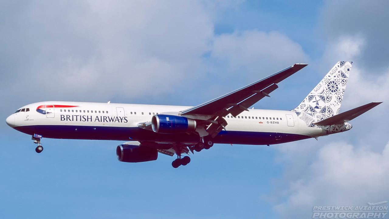G-BZHB. Boeing 767-336/ER. British Airways. Glasgow. October. 1998.