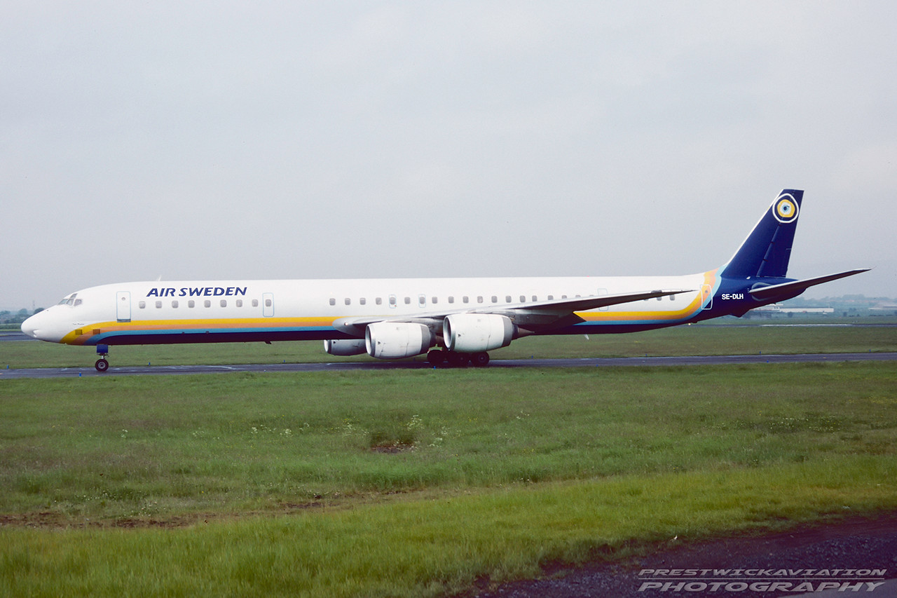 SE-DLH. Douglas DC-8-71. Air Sweden. Glasgow. August. 1992.