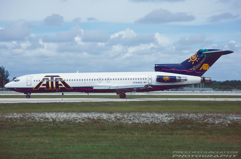N754US. Boeing 727-2B7/Adv. American Trans Air. Fort Lauderdale. October. 1996.