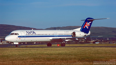 G-UKFK. Focker 100. Air UK. Glasgow. November. 1996.