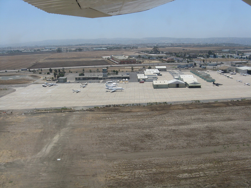 Looking down at Brown Field. Just beyond the airport in the distance is Mexico.