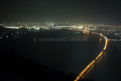 Night Approach over Manila Bay to Manila Airport