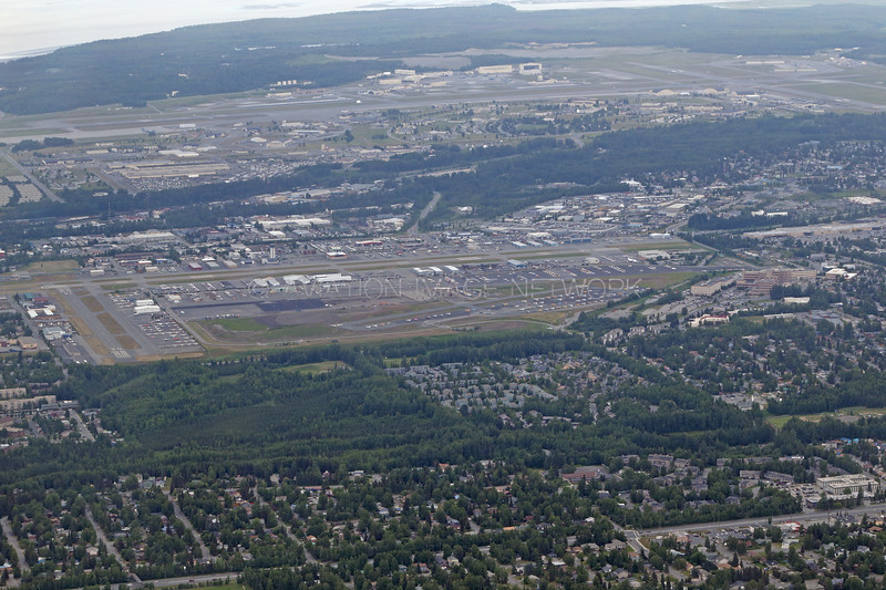Merrill Field Anchorage (Elmendorf Air Force base behind)