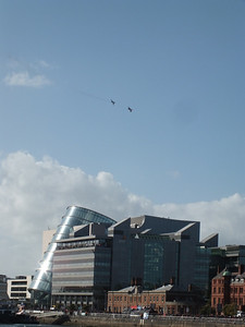 F86 and Lightning over the National Conference Centre River Liffey Dublin 15 September 2013