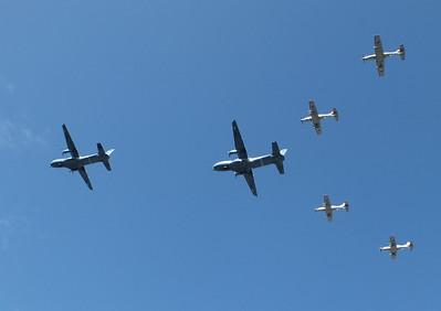 Air Corps Flypast of 2x CN235 & 4 PC9s River Liffey Dublin 15 September 2013