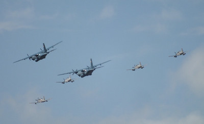 Air Corps Flypast of 2x CN235 & 4 PC9s River Liffey Dublin 15 September 2013