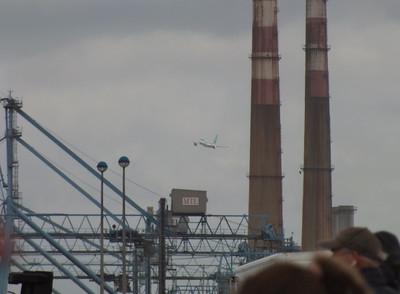 EI-DAA comes past the chimneys. River Liffey Dublin 15 September 2013