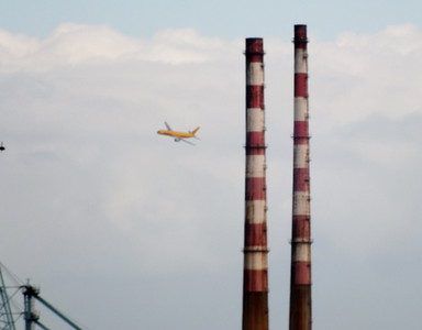 G-BIKU comes past the chimneys. River Liffey Dublin 15 September 2013