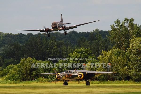 """N345AB - 1943 Douglas DC3C-S1C3G  (C-47) N2825B - 1940 North American RB-25 """"Miss Hap"""""""
